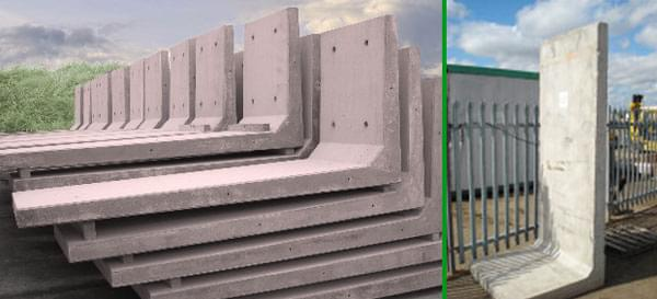Reinforced L Shape Sectional Concrete Dividers / Retaining Walls